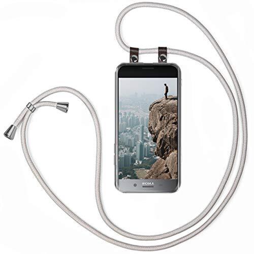moex - Cadena para teléfono móvil compatible con Sony Xperia XZ Premium, funda de silicona con correa, funda transparente con cordón, intercambiable en plata