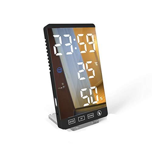 VHFGU 6 Pulgadas LED Espejo Alarma Reloj de Alarma Táctil Táctil Reloj Digital Tiempo Temperatura Humedad Muestra USB Salida Port Table Reloj (Color : B)