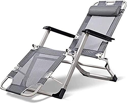 Zero Gravity Solstol, vilstol Solstol Trädgårdssängar och fåtöljer Solsäng Grå kontorsfällbara stolar med kudde i för inomhusstrand Uteplats Trädgård Camping Utomhus Fyrkantiga stålben