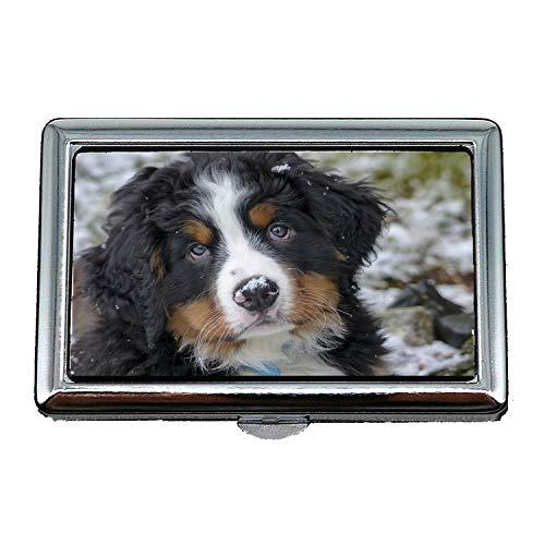 Zigaretten-Aufbewahrungsbehälter / -Kasten, Hundewelpen-Haustier-Canine-niedliches Tier reinrassig, Geschäfts-Kartenhalter-Geschäfts-Karten-Kasten rostfrei