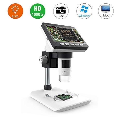 Microscopio Digital 1000X LCD, Lupa de Alta definición Bysameyee de 4.3 Pulgadas con Captura de Foto/Video, cámara de inspección de 2MP con USB Recargable y LED Compatible para Windows Mac PC