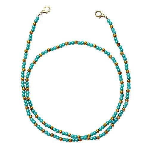Cordón para máscara de cara, antideslizante, cadena para anteojos, collar con abalorio, correa decorativa de moda, Azul, 27.5 in