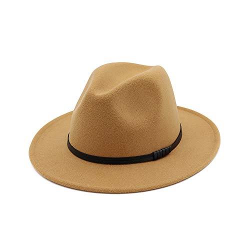 Sombrero de Fedora de ala Ancha para Mujer Sombrero de Jazz de Invierno Gorras de Jazz de Ante Vintage Trilby (Color : Camel, Tamaño : One Size)
