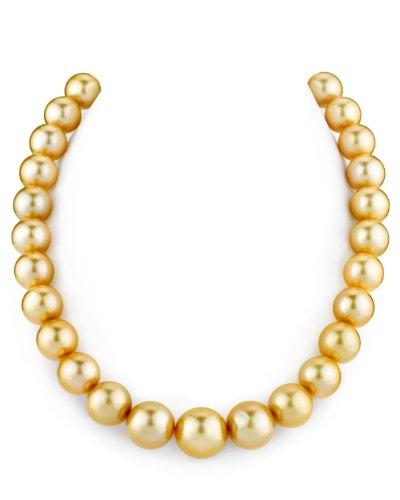 Collana con perle coltivate in mare del sud, 12-14 mm, qualità AAA, lunghezza 50,8 cm, chiusura in oro 14 K e Oro bianco, colore: Oro, cod. 1