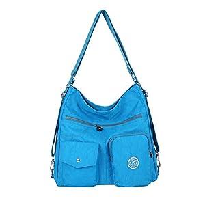 41DpkLDRSaL. SS300  - NOTAG Bolsos de Mujer, Impermeable Nylon Bolso Bandolera Multifuncional Mochilas Bolso Hombro Shopper (Azul claro)