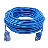 Clear Power 14/3 SJTW -50°C Blue Cold Weather Extension Cord w/Power Indicator Light (100 ft, Blue)