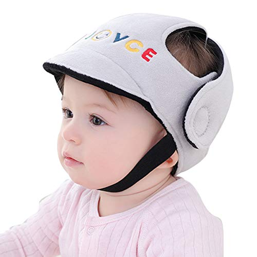 Ruspela Casco de bebé para niño pequeño, casco de seguridad, arnés de protección, gorra ajustable, protector de cabeza, gris, 12 Meses
