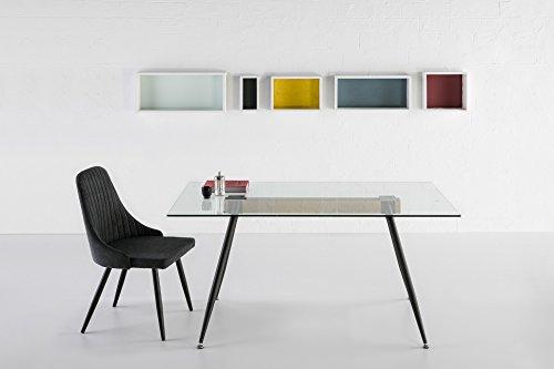 ambiato Design Esstisch Tempio Glas + Balken Wildeiche Nb. 150x90 Glastisch Schreibtisch Konferenztisch