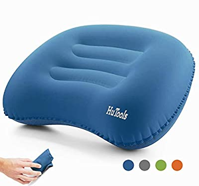 HuTools Inflatable Air Pillow Camping Pillow Backpacking Pillow Lightweight Travel Ultralight Ergonomic Pillow Portable for Airplanes and Road Trips with Neck & Lumbar Support (Blue)