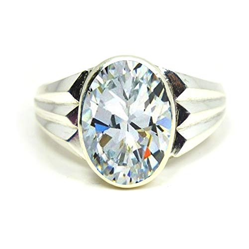 Jewelryonclick Faceted White Cubic Zircon Silver Rings for Men 5 Ct Gemstones December Birthstone Size H