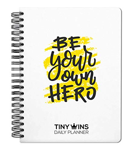 TINYCHANGE TinyWins Daily Planner: Schedule Your Day, Achieve Goals, Manage to-do List and Track Your Wellness - Undated for 6 Months, Hardcover with Wellness Tracker and Stickers