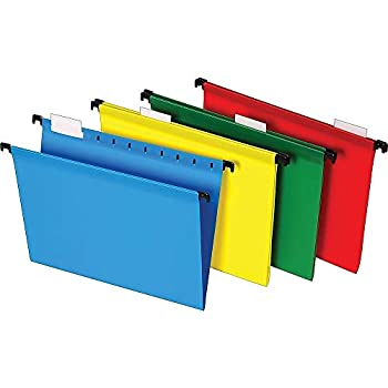 Staples 645587 Poly Hanging File Folders 5-Tab Letter Size Assorted Colors 20/BX