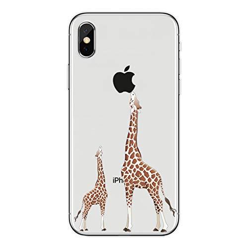 Karomenic Silikon Hülle kompatibel mit iPhone XR Kreative Cartoon Transparent Handyhülle Durchsichtig Schutzhülle Crystal Clear Weiche Soft TPU Tasche Bumper Case Etui,Giraffe, die Apfel isst