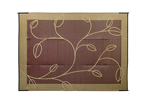 Camco Large Reversible Outdoor Patio Mat - Mold and Mildew Resistant, Easy to Clean, Perfect for Picnics, Cookouts, Camping, and The Beach (9' x 12', Brown-Tan Leaf Design) (42855)