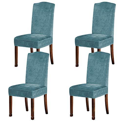 KELUINA Fundas de Felpa de Terciopelo para sillas de Comedor, Fundas para sillas elásticas, tronas de Elastano, Fundas Protectoras con elástico para Comedor (Azul Crepúsculo, 4 Piezas (M))