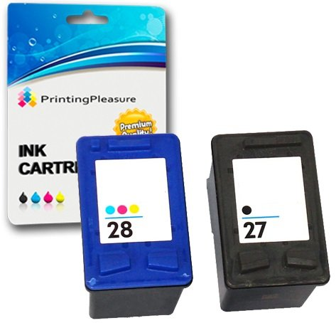 Printing Pleasure 2X Tintenpatronen kompatibel zu HP 27 & HP 28 für Deskjet 3320 3420 3550 3650 3740 3840 5150 5160 5650 5850 Fax 1240 Officejet 4200 4215 6110 PSC 1100 1110 1210 1215 1310 1315