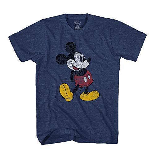 Disney Mickey Mouse Classic Distressed Standing T-Shirt (Indigo Black,Large)