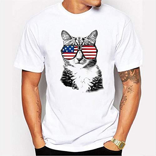 Yhui Camiseta de los hombres 2019 Primavera Cuello Redondo de Verano Impresión de Manga Corta Camiseta de la Bandera Americana Gafas Cool Cat
