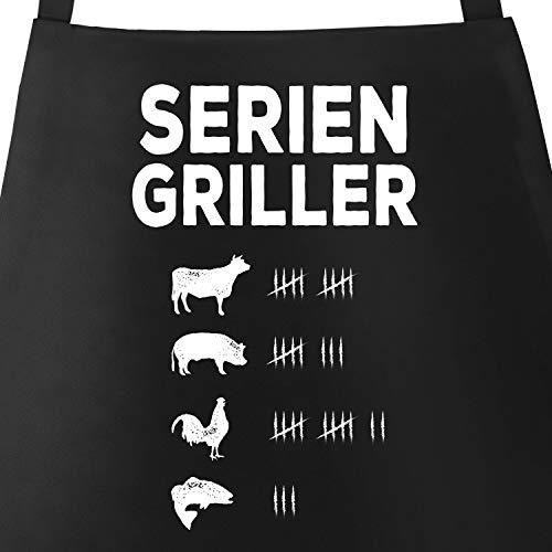 MoonWorks Grill-Schürze für Männer mit Spruch Seriengriller Strichliste Baumwoll-Schürze Küchenschürze schwarz Unisize