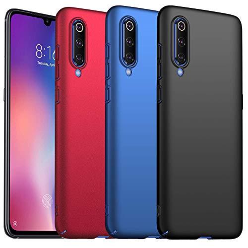 KZIOACSH [3 Pack] Funda para Xiaomi Mi 9 SE,[Ultra Slim],[Anti-Rasguño] Protectora Caso de Duro Cover Case para Xiaomi Mi 9 SE - Negro,Rojo,Azul