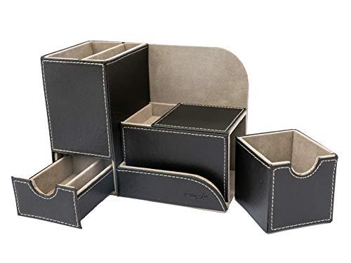 Portapenne Multifunzione da Scrivania con Cassetti/Porta-oggetti/Porta-Cellulare/Porta Graffette/Organizer in Simil-pelle PU OttoFoi Italia