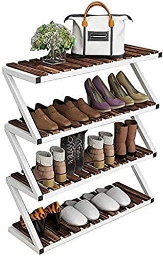 ZAIHW Zapatero Zapatero Estante para Zapatos de Cuatro Capas, Zapatero de Hierro Forjado Organizador Muebles Familiares Taburete para Cambiar Zapatos de Madera Maciza Multicapa