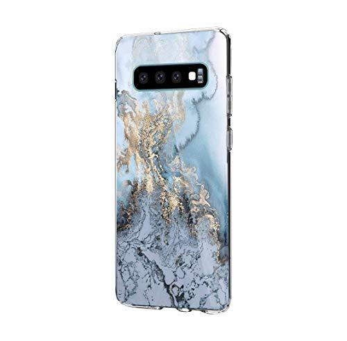Beryerbi Hülle kompatibel mit Galaxy S10/S10 Plus, Weiche Clear Muster TPU Transparent Flexibel Silikon Schlank Blühen Blumen Bumper Case mit Hart Plastik Hülle (Samsung Galaxy S10, 4)
