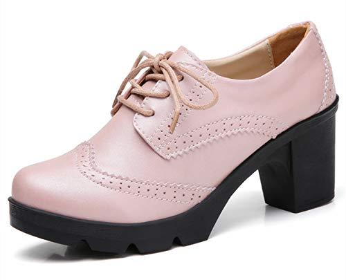 DADAWEN Women's Classic T-Strap Platform Mid-Heel Square Toe Oxfords Dress Shoes Pink US Size 10