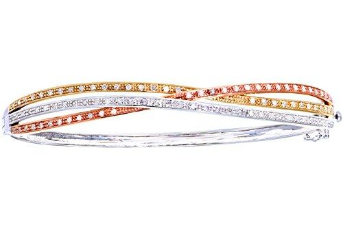 Naava Damen-Armreif 9 Karat 375 Tricolor Diamant
