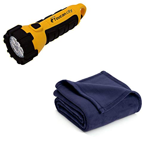 Toucan City LED Flashlight and Vellux P Eclipse Blue Polyester Twin Blanket 027399029788