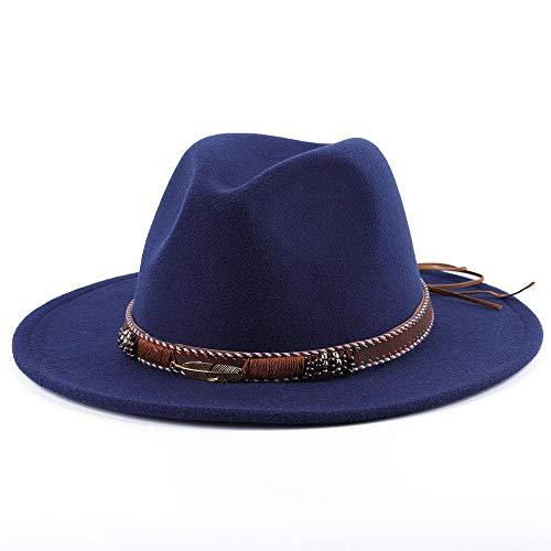 ZCZWQ Sir Herbst und Winter Wollmütze, männliche Frau Federhut, stilvolle Flache Krempe Hüte (Color : 11)