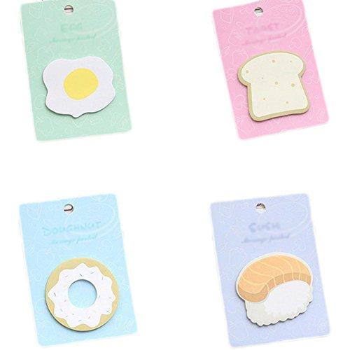 Vikenner Essen Haftnotizen Bunte Super Haftnotiz Papier klein pastell lustig Netter Sticky Notes 4 Stück (Eier, Brot, Sushi, Donut)
