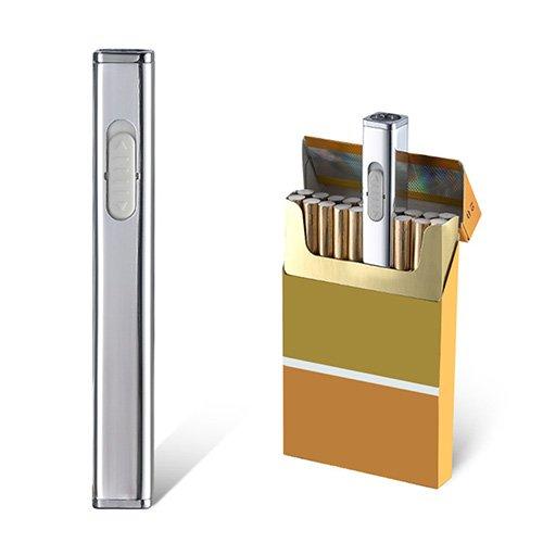JOUGE Usb Mini Lighters Rechargeable Eletric Cigarette Lighter Flameless Windproof Lightweight Coil Slim Lighter (Silver)