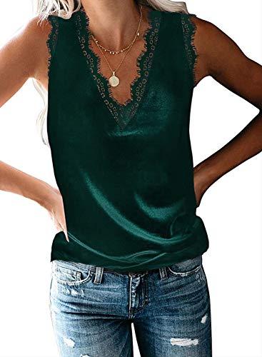 BLENCOT Womens Casual Lace Velvet Eyelash Tank Tops V Neck Loose Fit Flowy Sleeveless Shirts Blouses Office Green L
