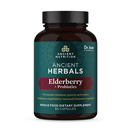 Elderberry + Probiotics, 720mg, Ancient Herbals Black Elderberry Capsules, Formulated by Dr. Josh Axe, Immune System Support, Whole Food Dietary Supplement, Made Without GMOs, 60 Capsules