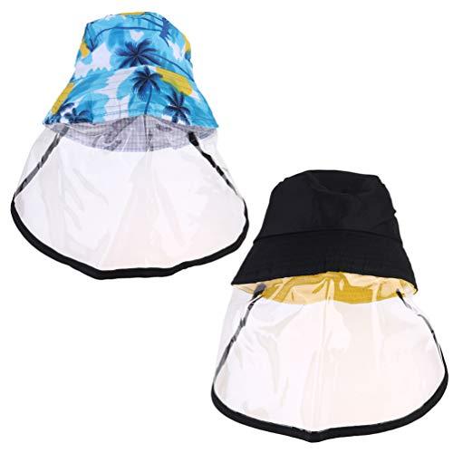 BESPORTBLE 2 stuks beschermende visser hoed anti-rook stofdicht outdoor winddichte pet veiligheid gezicht beschermende vizier (zwart en kokosnoot kleur)