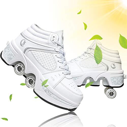 Ruedas Ajustables Aire Libre Y Deporte Gimnasia Zapatillas Zapatos con Ruedas Zapatos Multiusos 2 En 1 Patines Zapatillas Botas De Patines De 4 Ruedas