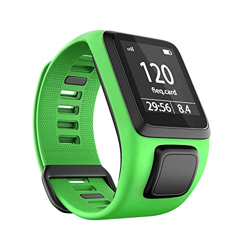 RongYooo Replacement for TomTom Strap Bands,Silicone Watch Band Compatible for TomTom Runner 2/3/Spark 3/Golfer 2. (green)