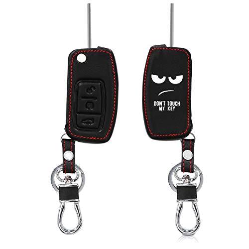 kwmobile Funda Compatible con Ford Llave de Coche Plegable de 3 Botones - Cubierta de Cuero sintético - Case para Mando y Control de Auto Don't Touch my Key