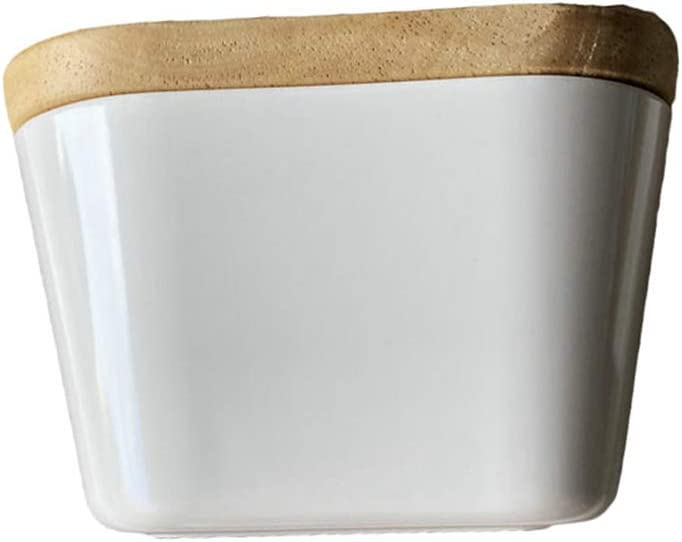 JIA JIA Beurrier,Bo/îte sp/écifique /à Beurre /émail Compatible Micro-Ondes//Cong/élateur//Lave Vaisselle Blanc