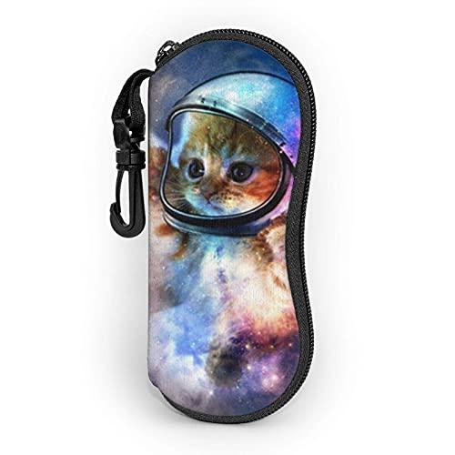 AOOEDM Animal gato astronauta gafas de sol estuche blando estuche para gafas para mujeres hombres funda de anteojos con cremallera de neopreno ultraligero
