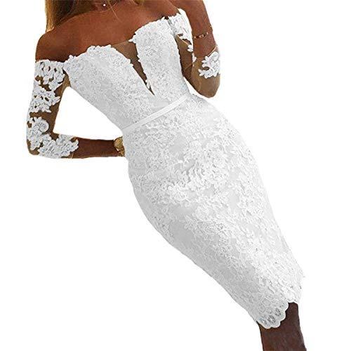 iluckin Vintage Short Lace Wedding Dresses for Women Bride with 3/4 Sleeves Off The Shoulder Bridal Ball Gown 2020 White