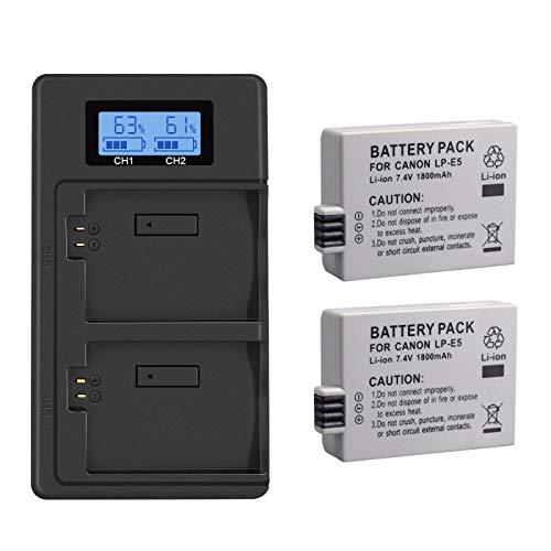 Grehod Batería de cámara LP E5 + batería LPE5 LCD Cargador USB de Doble Ranura para cámara Canon EOS 450D 500D 1000D Kiss X3 2battery1charger