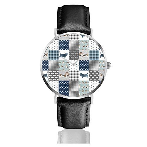 Reloj de cuero Basset Hound Pet Quilt B Cheater Quilt Dog Raza Wholecloth Unisex Classic Casual Moda Reloj de cuarzo Reloj de acero inoxidable con correa de cuero