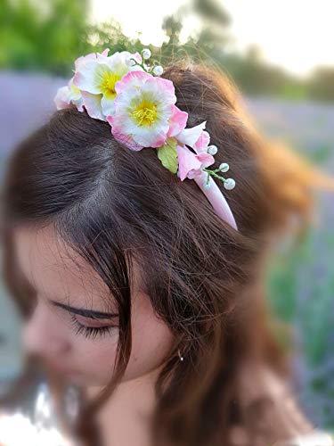 Diadema de Flores Porcelana Rusa- Gladiolos Hecho a mano