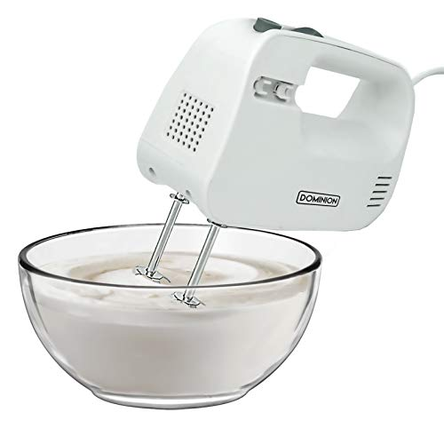 Dominion Electric Hand Mixer, 3 Mixing Speeds, Clever Built In Beater Storage, 2 Stainless Steel Chrome Beaters, Ideal for Whipping & Mixing Cookies, Cakes Dough Batters, Cool Touch Handle, White