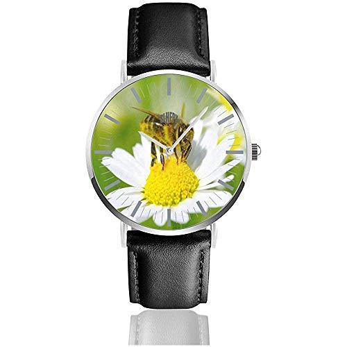 Reloj para Hombre The Bees and White Flower Relojes de Pulsera de Cuarzo de Acero Inoxidable Minimalistas Personalizados con Banda de Cuero
