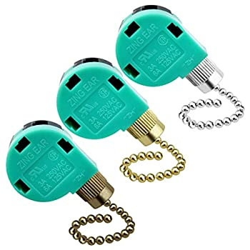 Topbuti 3 Pack Ceiling Fan Switch 3 Speed 4 Wire Zing Ear ZE-268S6 Fan Pull Chain Switch Replacement Speed Control Switch for Ceiling Fan Light Wall Lamps Cabinet Light  Multicolored