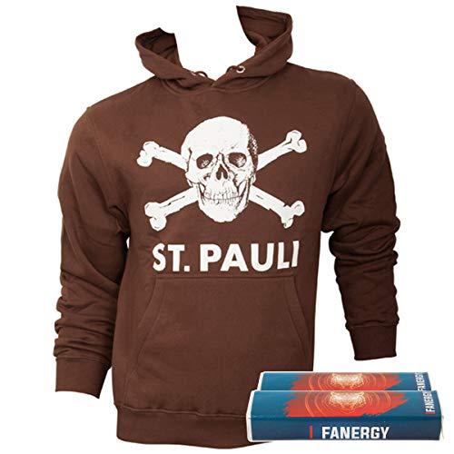 FC St. Pauli Herren Pullover Hoodie Kapuzenpullover Fanartikel Totenkopf Braun + 2X Fanergy Traubenzucker (XXL)