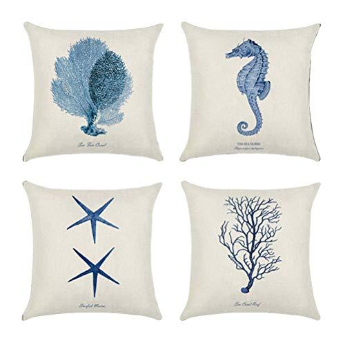 Vosarea - Federe per Cuscini decorative e dipinte a mano, Stile alla marinara, per casa, letto, sedia, Set da 4 Pezzi